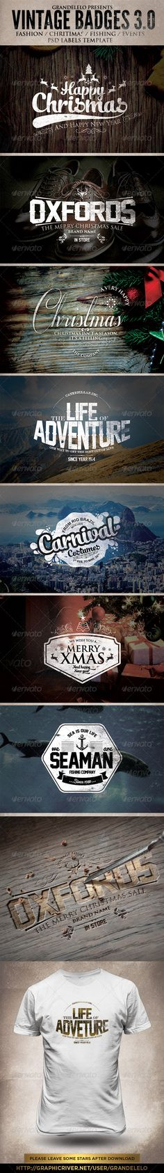 Buy Christmas and Other Vintage Badges by grandelelo on GraphicRiver. This is a Psd template Lables, logos, stamps, Fashion / Chritimas / Fishing / events or for retro posters or print. Vintage Typography, Graphic Design Typography, Logo Design, Retro Design, Cool Poster Designs, Cool Posters, Retro Posters, Christmas Signs, Vintage Christmas
