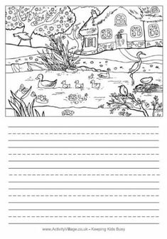 Use this detailed illustration to spark off some creative writing - or perhaps ask the kids to describe what they see in the picture? Two versions available. First Grade Reading Comprehension, Picture Comprehension, Reading Fluency, Picture Story Writing, Writing Pictures, Creative Writing Worksheets, Creative Activities For Kids, Spring Activities, Kindergarten Reading Activities