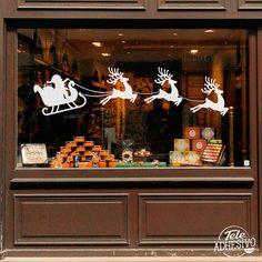 vinilos decorativos pap noel y su trineo escaparate decorar navidad vinilo