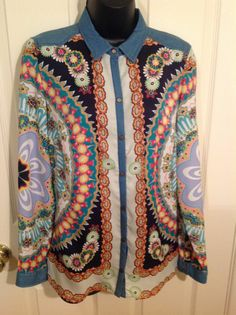 Women Zara Trafaluc Shirt Long Sleeve Medium Geometric Floral Scarf Print $49.95