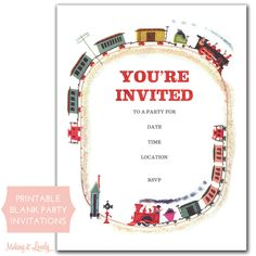 My mom is throwing a Labor Day party with a railroad theme this year. I love the vintage children's book look of these free printable invitations.