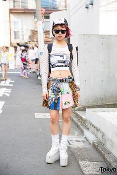 Harajuku Girl w/ Piercings, Tattoos, Pink Hair, DVMVGE, Bunkaya Zakkaten & YRU (Tokyo Fashion, 2015)