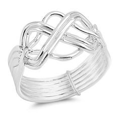 6 Band Crisscross Crossover Ring 12mm Band Width Solid 925 Sterling Silver Plain Simple Band Ring Brother and Siter Gift