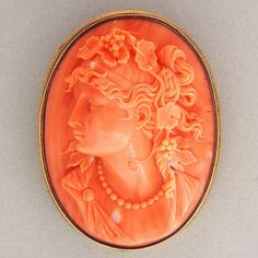 Salmon Carved Coral 18k Yellow Gold High Relief Cameo Pin