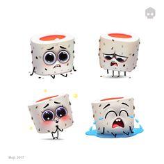 dmnart8/24 sushi sticker pack for Moji. Like it?maybe i shouldn't show it ...idk #moji #stickers #sticker #fun #funny #emotions #cute #dmnart #art #photoshop #character #artist #illustration #apple #appstore