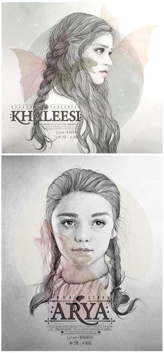 Khaleesi y Arya Stark by Juanjo Rivas