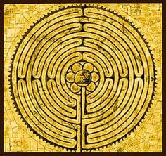 The difference between a labyrinth and a maze: in a maze, there are several paths and possibly some dead-ends, while in a labyrinth one path continues from the entrance to the goal. It may be a winding path but it leads to the centre by a certain path. Pictured is the mandala worked onto the floor of Chartres Cathedral in France.