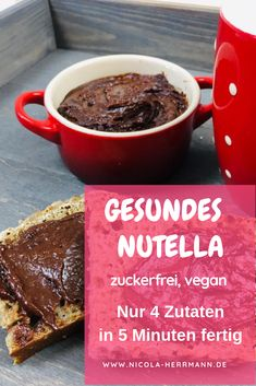 Sugar-free vegan chocolate cream - sugar-free family cuisine: healthy, wholesome nutrition for the whole family without sugar - Healthy Nutella without sugar only sweetened with dates, homemade. The hit for a healthy children&# - Healthy Breakfast For Kids, Vegan Breakfast Recipes, Chocolate Cream, Vegan Chocolate, Healthy Drinks, Healthy Recipes, Avocado Recipes, Healthy Food, Lunch Boxe