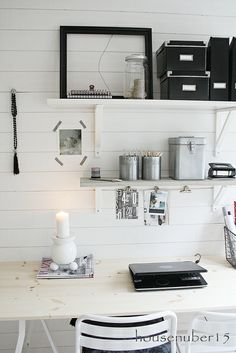 office shelves. Love the black white and silver