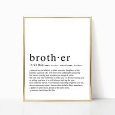 Brother Definition-brother baby shower gift typography | Etsy Birthday Cards For Friends, Friend Birthday, Gifts For Brother, Gifts For Him, Password Printable, Funny Definition, Plural Nouns, Pink Wall Art, Friends Tv Show