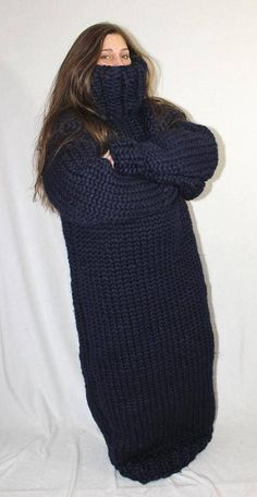 kg Sweater dress chunky sleeping bag thick knit merino sheep wool turtleneck sweater jumper for men hand knitted by Strickolino Thick Sweaters, Cardigan Sweaters For Women, Wool Sweaters, Long Cardigan, Sweater Outfits, Edgy Outfits, Fall Outfits, Fashion Outfits, Edgy Teen Fashion
