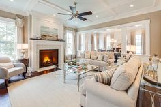 Photo: This living room is from a beach house in Coastal VA. What do you think? Anything you would change?  See the whole home tour at: http://www.homestoriesatoz.com/home-tour/house-tour-coastal-virginia-idea-house.html  #homedecor #interiordecor #livingroom #beachhouse