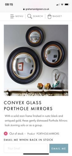 Porthole Mirror, Looking Stunning, Antique Gold, It Is Finished, Cottage, Rustic, Antiques, Frame, Glass