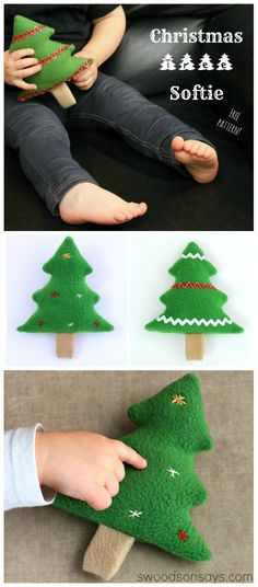 Free Christmas Tree Softie Sewing Pattern - perfect for using up scraps. Make it into a soft toy, ornament, applique, scented sachet, bean bag toy, or dog/cat toy!