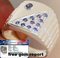 MEN'S THE BEST!! GENUINE TANZANITE RING SOLID 925SS S#11 NO RESERVE #JPS #Gents
