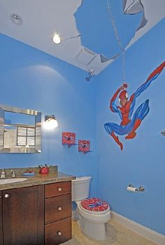 Spider Man Bathroom! How Awesome. Not Sure Why There Is A Camera In