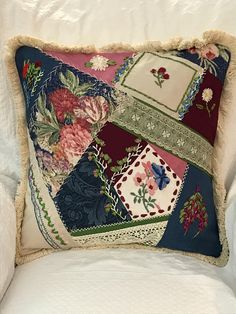 Handmade original design Crazy quilt silk ribbon embroidery vintage lace embroidered silk and barkcloth pillow