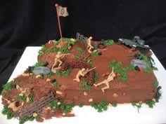 Army cake, G.I. Joes, battle cake, boys birthday