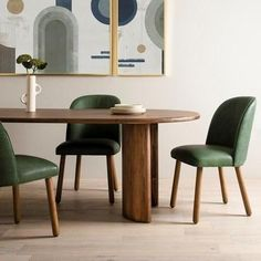 Shop Aubree Modern Green Leather Dining Chairs for sale. Soft, beautifully shaped seating upholstered in top-grain leather in a mossy sage. A spoon-shaped back and rounded beechwood legs carry out the curvy allure of this shape-driven dining Oval Table, Modern Dining Table, Dining Table Chairs, Oval Dinning Room Table, Mismatched Dining Chairs, Solid Wood Dining Table, Upholstered Dining Chairs, Table Runners, Leather Dining Chairs