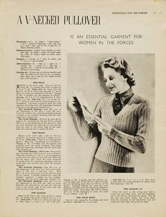 "Vintage knitting instructions for a v-necked pullover from the Victoria & Albert Museum: ""An Essential Garment for Women in the Forces."""