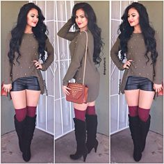 Leather shorts and a stud long sleeve, colorful socks and heel boots to pop the outfit.