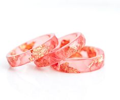 Cayenne Red Resin Ring Stacking Ring Gold Flakes by daimblond, €25.00