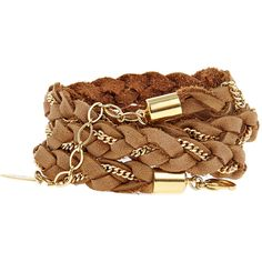 ADA COLLECTION Leather Selmi Bracelet Tan (155 BRL) ❤ liked on Polyvore featuring jewelry, bracelets, accessories, pulseiras, pulseras, tan, leather wrap bracelet, chain jewelry, leather jewelry and layered jewelry