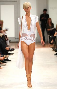 Zimmermann | Sheer Panel White Lace Bathing Suit with Crisp Cape