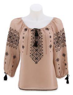 Стильна вишиванка кольору кави з молоком з чорною філігранною вишивкою 60 Fashion, Folk Fashion, Fashion Dresses, Embroidery On Kurtis, Embroidery Fashion, Embroidered Clothes, Embroidered Blouse, Eid Outfits, Casual Outfits