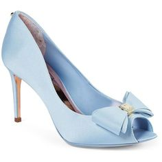 Ted Baker London Alifair Bow Pumps (€190) ❤ liked on Polyvore featuring shoes, pumps, heels, light blue, light blue shoes, peep-toe shoes, bow pumps, stilettos shoes and peep toe pumps