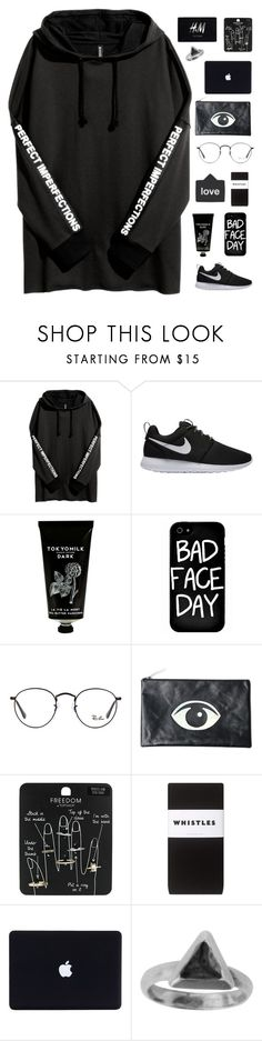 """""""Dark like my soul"""" by liutong1200500632 ❤ liked on Polyvore featuring NIKE, TokyoMilk, Local Heroes, Ray-Ban, Motel, Topshop, H&M, Whistles, Zoemou and allblack"""