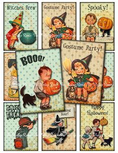 INSTANT DOWNLOAD, Halloween Digital Collage Sheet atc's, Retro Vintage Inspired…