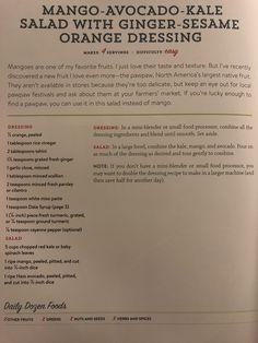 Mango avocado kale salad with ginger sesame orange dressing Plant Based Eating, Plant Based Diet, Plant Based Recipes, Vegetarian Diets, Vegan Meals, Vegetarian Recipes, Fruit Love, New Fruit, Vegan Life