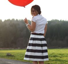 Universally flattering high-waisted a-line skirt, with box-pleats and crisp stripes. Basically, heaven in a skirt. Skirt sits at the natural Nautical Stripes, Navy Stripes, Cute Skirts, A Line Skirts, Stripe Skirt, Pleated Skirt, Pretty Outfits, Cute Outfits, Shopping