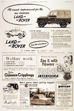 "1954 Land Rover 4x4 original vintage advertisement. Illustrated in black & white. Now with longer 86"" wheelbase, 25% increase in interior room and improved all weather seals."