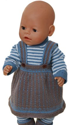"""dolls clothes knitting pattern - Every day's clothes"""" for my doll Knitting Dolls Clothes, Crochet Baby Clothes, Doll Clothes Patterns, Clothing Patterns, Knitted Doll Patterns, Knitted Dolls, Baby Knitting Patterns, Girl Dolls, Baby Dolls"""