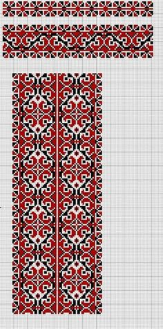 Beading _ Pattern - Motif / Earrings / Band ___ Square Sttich or Bead Loomwork ___ Palestinian Embroidery, Hungarian Embroidery, Folk Embroidery, Beaded Embroidery, Cross Stitch Embroidery, Embroidery Patterns, Cross Stitch Art, Cross Stitch Borders, Cross Stitch Patterns