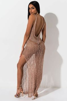 Side view like gold dust lurex maxi dress in rose gold Low Cut Dresses, Open Back Dresses, Short Dresses, Formal Dresses, Sexy Maxi Dress, Sexy Dresses, Cute Dresses, Fashion Dresses, Sexy Outfits
