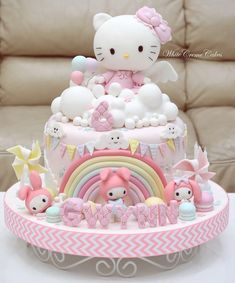 Hello Kitty Fondant, Torta Hello Kitty, Hello Kitty Birthday Cake, Hello Kitty Cupcakes, Hello Kitty Baby, Hello Kitty Themes, Kitty Cake, 6th Birthday Cakes, Birthday Cake Girls