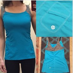Lululemon tank top Teal/grey tank top. This does not have a built in bra. It has a tiny pocket on the back with a hole for the chord to your earbuds. Size 4. Nwot. Perfect condition. lululemon athletica Tops Tank Tops