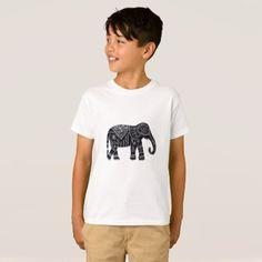 Black Elephant Print T-Shirt - animal gift ideas animals and pets diy customize