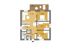 Bungalow O80 - Floor plan - Mirrored