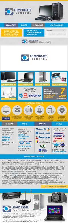Cliente CompuGate Center. Venta de equipos de computación, laptops, periféricos, accesorios y consumibles.  Creación 2015 / Diseño elaborado por iGrafi.