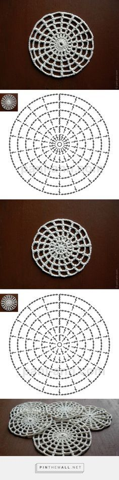 filet crochet in the round - solid centre and filet (ie with spacing chains) - very cool
