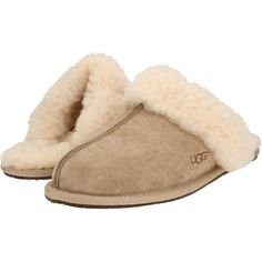 UGG Scuffette II (Sand (Suede)) Women's Slippers (€75) ❤ liked on Polyvore featuring shoes, slippers and pajamas