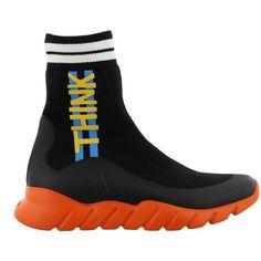 Sneaker ($630) ❤ liked on Polyvore featuring men's fashion, men's shoes, men's sneakers, black orange, mens black sneakers, mens orange sneakers, fendi mens shoes, mens black shoes and fendi mens sneakers