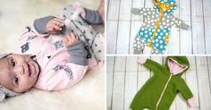 Eine weitere kostenlose Anleitung mit Schnittmuster für einen wunderschönen Babystrampler der auch als Jumpsuit für (Klein-) Kinder genäht werden kann.