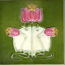 Alfred Meakin Ltd c.1910 - Pink & Yellow Flower - Antique Art Nouveau Tile
