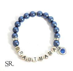Accessoires - Armband Brautmama Geschenk Hochzeit Brautmutter dunkelblau royalblau königsblau Perlenarmband mit Namen Geschenk Brautmutter Glitzerherz - ein Designerstück von sweetrosy bei DaWanda