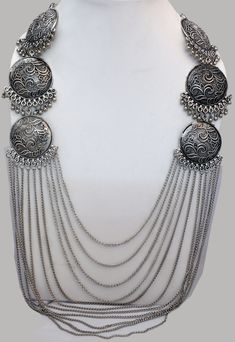 Silver Jewellery Indian, Ethnic Jewelry, Metal Jewelry, Silver Jewelry, Long Silver Necklace, Tribal Necklace, Statement Jewelry, Choker Jewelry, Belly Dance Jewelry